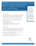 Business Analytics and SAS Practice: Major Financial Institution